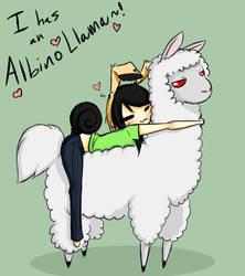 ALBINO LLAMA... by Hatchet-Ears