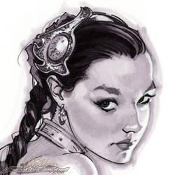 Slave Leia Christy 2 head by J-Scott-Campbell