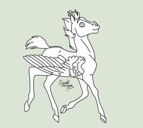 Foal Pegasus |LINES| by Sweet-Suggar