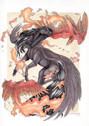 Fiery Flight [YCH] by reptilianbirds