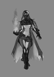 Pyro Lady - New pose and grayscale by DrManhattan-VA