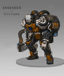 Character Design for a Sci-Fi boardgame - Engeneer by DrManhattan-VA