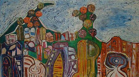 Orange Trees and Sea by aryehagmon