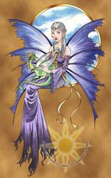 Lavendar Fairy and Dragon by BrightSolaris