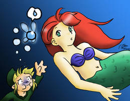 Ariel, Save Link by LauraDoodles