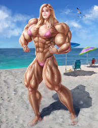 Bridgit Mendler Pecs on the Beach by gv-art by up2nogd1
