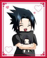 Sasuke with Itachi Plushie by uchihasasuke-kun