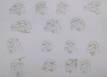 Orc Face Sketches by Yo-yoyoyo