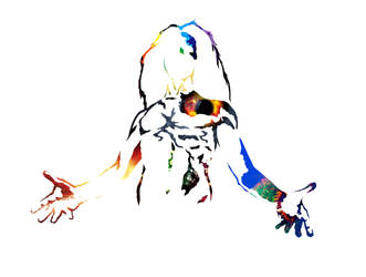 Stencil Self Portrait by Yo-yoyoyo