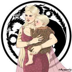 Queen Rhaella and baby Rhaegar by chillyravenart