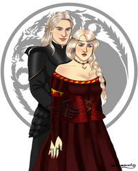 Daemon And Rhaenyra Targaryen by chillyravenart