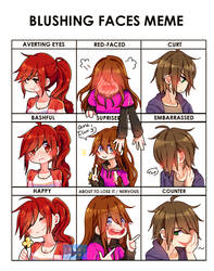 [SPEEDPAINT] Blushing Faces Meme! by IPonyLover