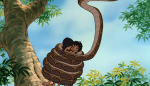 Mowgli and Shanti sleeping in Kaa's coils by Swedishhero94