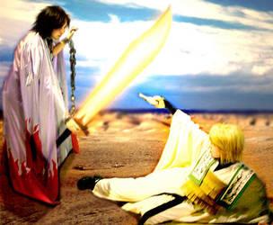 Homura and Sanzo fight. by Mithore-Rauko