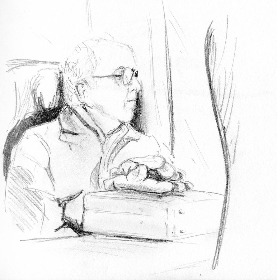 Man on train by Pudsybear