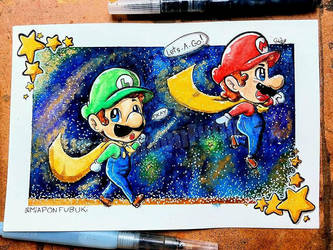 .:Golden Galaxy Road:. (Original Available To Buy) by Miapon