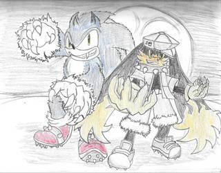 Night Heroes: Werehog Sonic, Nightmare Klonoa by teriax