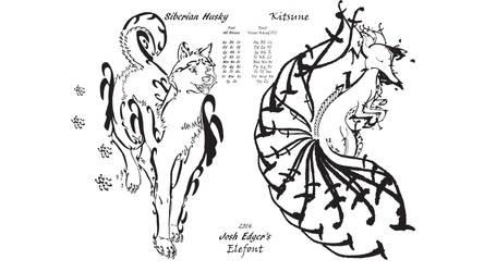 Elefont-Husky and Kitsune by JAEdger