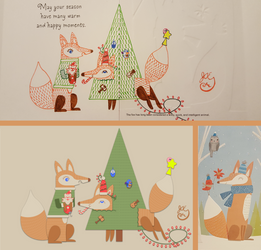 Winter Holiday Card - Fox Couple 3_Vector - 2016 by JAEdger