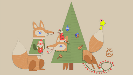Winter Holiday Card - Fox Couple 5_Vector - 2016 by JAEdger