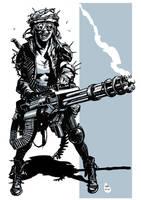 Post apocalyptic minigun girl 2 by bumhand