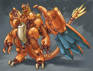 Mecha Charizard design 2018 by Onikaizer