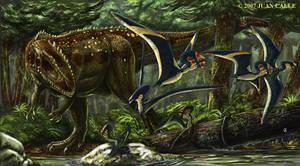 Giganotosaurus and Tapejaras by Onikaizer