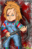 Chucky with an Ancient Nordic Pickaxe by Taboochildsplay