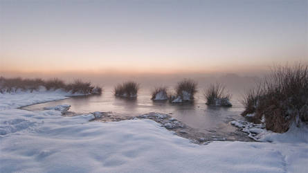 Winter mist over castle waters by SevenHeptagons