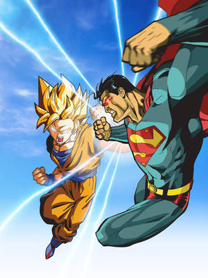 superman vs goku by xikinight
