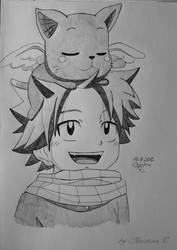 young Natsu with young Happy by M0nstac00kie