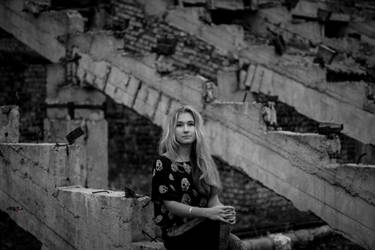 Valeria on the ruined stairs. by JuliaZaishla
