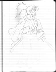 Daily Sketchbook Practice 09 - Samurai Guy by Mega-Charizar