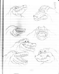 Daily Sketchbook Practice 10 - Alligator Bust by Mega-Charizar