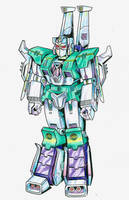Young Sixshot - robot mode design by JoeTeanby