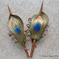 Peacock Feather Hair Slides by Beadmask