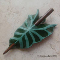 Lily Leaf Leather Hair Slide by Beadmask
