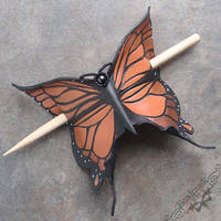 Monarch Leather Hair Slide by Beadmask