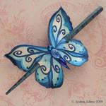 Blue butterfly hair slide by Beadmask