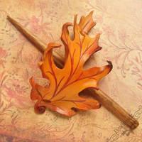 Golden Oak Leather Hair Slide by Beadmask