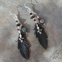 Raven Feather Earrings by Beadmask