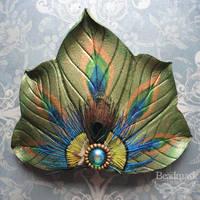 Peacock Fan Barrette by Beadmask