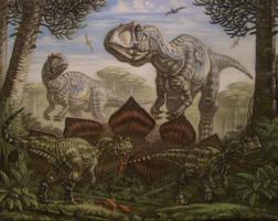 Allozaurus, young Ceratosaurus. by ABelov2014