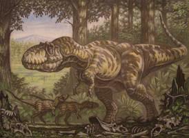 Mother Daspletosaurus with children. by ABelov2014
