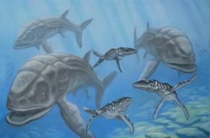 Leedsichthys, Liopleurodon. by ABelov2014