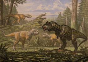 Carnotaurus, Abelisaurus. by ABelov2014