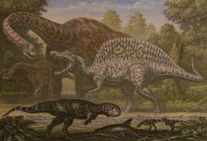 Paralititan, Spinosaurus, Rugops. by ABelov2014