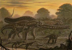 Majungasaurus, Masiakasaurus, Rapetosaurus. by ABelov2014