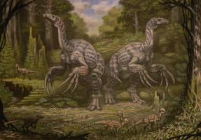 Therizinosauridae, Tylocephale, Velociraptor. by ABelov2014