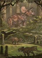 Triceratops horribus, Leptoceratops gracilis. by ABelov2014